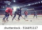 hockey match at rink mixed... | Shutterstock . vector #516691117