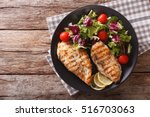 roasted chicken breast with mix ... | Shutterstock . vector #516703063