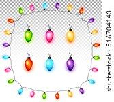 colorful christmas light bulbs... | Shutterstock .eps vector #516704143