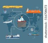 global logistics network... | Shutterstock .eps vector #516708673