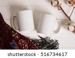 Two White Mugs  Pair Of Cups ...