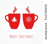 red christmas coffee mugs.... | Shutterstock .eps vector #516740653