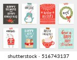 collection of 8 cute merry... | Shutterstock .eps vector #516743137