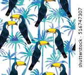 toucan pattern   vector... | Shutterstock .eps vector #516747307