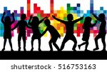 dancing children. silhouettes... | Shutterstock .eps vector #516753163