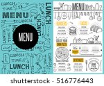 cafe menu food placemat... | Shutterstock .eps vector #516776443