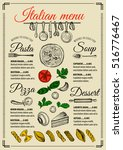 italian menu placemat food... | Shutterstock .eps vector #516776467