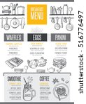 breakfast menu placemat food... | Shutterstock .eps vector #516776497