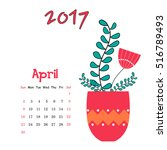 vector calendar for april 2017... | Shutterstock .eps vector #516789493