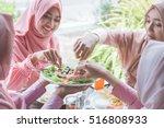 healthy young muslim woman... | Shutterstock . vector #516808933