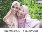 excited young muslim girl... | Shutterstock . vector #516809203