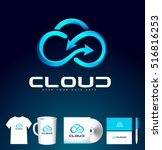 cloud logo design vector.... | Shutterstock .eps vector #516816253