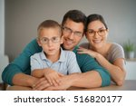 family of three people wearing... | Shutterstock . vector #516820177