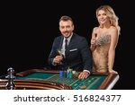 couple playing roulette wins at ... | Shutterstock . vector #516824377