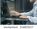 system administrator working in ... | Shutterstock . vector #516825217