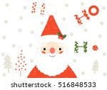cute santa claus christmas and... | Shutterstock .eps vector #516848533