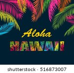 background with colorful palm... | Shutterstock .eps vector #516873007