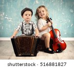cute little boy with his old... | Shutterstock . vector #516881827