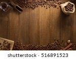 Coffee Beans On Wooden...