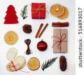 christmas gift boxes... | Shutterstock . vector #516893017