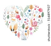 cute heart with nice hand drawn ... | Shutterstock . vector #516897937