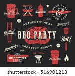 barbecue party vector retro... | Shutterstock .eps vector #516901213