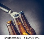 three fresh cold beer ale... | Shutterstock . vector #516906493