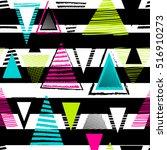 vector geometric ethnic neon... | Shutterstock .eps vector #516910273