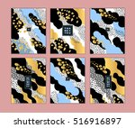 set of artistic creative cards... | Shutterstock .eps vector #516916897
