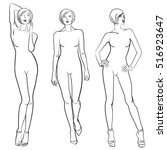sketch of fashion models.... | Shutterstock .eps vector #516923647