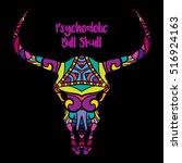 psychedelic bull skull head... | Shutterstock .eps vector #516924163