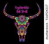 psychedelic bull skull head... | Shutterstock .eps vector #516924217