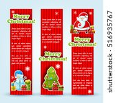 three red holiday banner set... | Shutterstock .eps vector #516935767