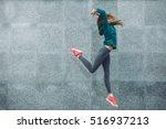 fitness sport girl in fashion... | Shutterstock . vector #516937213