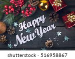 happy new year lettering with... | Shutterstock . vector #516958867