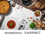 tomato soup  pasta  salad ... | Shutterstock . vector #516959827