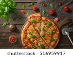 pizza on wooden board  with... | Shutterstock . vector #516959917