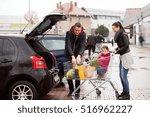 parents pushing shopping cart... | Shutterstock . vector #516962227