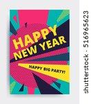 merry christmas new year design ... | Shutterstock .eps vector #516965623