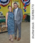 "Small photo of LOS ANGELES, CA. August 9, 2016: Actor Seth Rogen & wife Lauren Miller at the world premiere of ""Sausage Party"" at the Regency Village Theatre, Westwood."