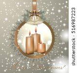 merry christmas  candles  snow  ... | Shutterstock .eps vector #516987223