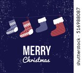 christmas socks. greeting card. ... | Shutterstock .eps vector #516988087