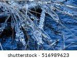 Frozen Water Drops On Straws