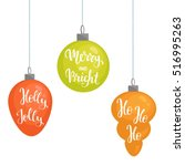 set of three isolated christmas ... | Shutterstock .eps vector #516995263