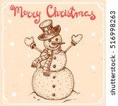vector illustration of snowman...   Shutterstock .eps vector #516998263