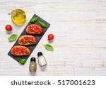 top view of bruschetta... | Shutterstock . vector #517001623