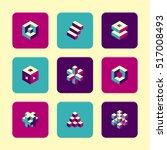 vector flat icons set   cube...   Shutterstock .eps vector #517008493
