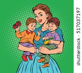 young retro mom with two... | Shutterstock .eps vector #517037197