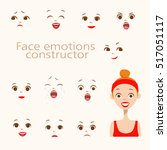 woman face emotions constructor ... | Shutterstock .eps vector #517051117