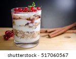 healthy layered dessert with... | Shutterstock . vector #517060567